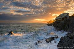 Touch of light (Maurizio Fontana) Tags: light sunset sea sky italy orange cliff cloud sun color water colors clouds nikon italia tramonto nuvole mare colore nuvola wave genoa genova cielo sole acqua colori arancio luce arancione nervi d800 onda passeggiata scoglio
