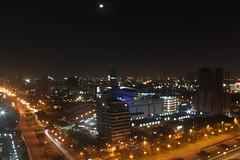 jakarta under the moon light (arkhab) Tags: light moon building bulb night indonesia view traffic capital jakarta cannon 500d ersa arkhab