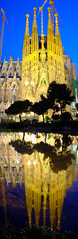 Sagrada Famlia Night Scene and its Reflection (Ping & Wenji) Tags: barcelona reflection spain nightscene sagradafamlia