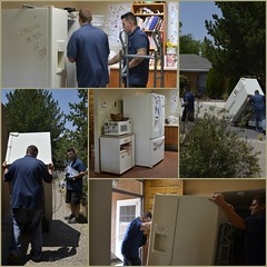Recycling Time (Jo-85'F today. Whew, gonna be HOT!!!) Tags: old fridge recycling