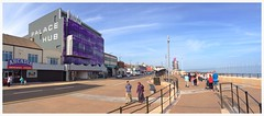 The Hub and the Beacon (sonofadkin) Tags: life blue people panorama tower vertical hub pier seaside gallery sunny panoramic promenade pan beacon redcar uploaded:by=flickrmobile flickriosapp:filter=nofilter