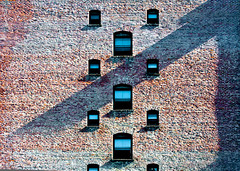 Vertical Window Patterns & Brick 1 of 2 (Orbmiser) Tags: windows building brick wall oregon portland nikon summmer reptition 28105mm d90 afd f3545 nikon28105mmf3545afd