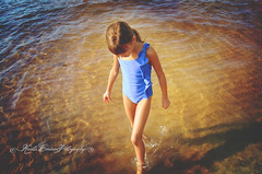 (Krista Cordova Photography) Tags: shadow lake beach water girl kids walking children sister lakemichigan littlegirl cutekids blueswimsuit walkinginwater
