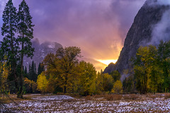 Sunset in Yosemite National Park (Darvin Atkeson) Tags: autumn winter sunset sunlight snow storm fall pine forest landscape twilight oak glow sierra yosemite yosemitenationalpark peaks aspen firstsnow yosemitevalley darvin atkeson darv liquidmoonlightcom