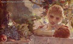 Eugenio Prati Ragazza con uva olio su tela 45 x 74 cm