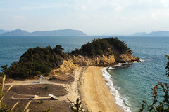 naoshima - benesse house museum 7 (Doctor Casino) Tags: ocean sculpture beach water rock artwork sand dune outcropping naoshimaisland