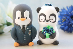 US Air force Military Penguin and Panda wedding cake toppers (PassionArte) Tags: wedding pet animal cake penguin groom bride panda handmade military jacket clay bouquet etsy toppers personalized