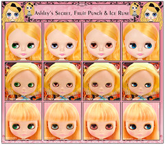 Neo Blythe: Comparison of Ashley's Secret (AS), Fruit Punch (FrPu) and Ice Rune (IR)