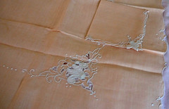 Tray cloth and napkin. Madeira (Traveling with Simone) Tags: napkin lin linen textile pink tablecloth nappe embroidered brodé faitmain handmade madeira
