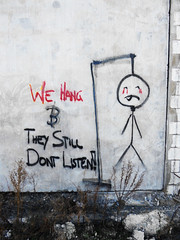 We Hang (Steve Taylor (Photography)) Tags: red newzealand christchurch streetart man wall graffiti blood weeds tears canterbury nz scaffold hanging southisland ligature hang capitalpunishment noose newbrighton