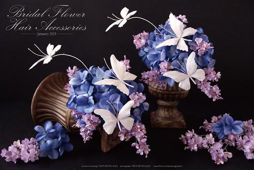 紫陽花與蝴蝶頭飾