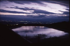 (bensn) Tags: longexposure sky film water japan fence dark evening cityscape nightscape pentax slide f18 limited provia nagano fa lx 100f 31mm