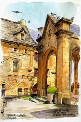 Salignac, la halle (Cat Gout) Tags: sketch village dordogne prigord watercolors halle