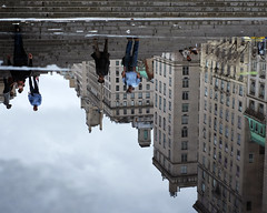 An Upside Down World (Reflection) (Something Sighted) Tags: nyc newyorkcity people newyork water reflections streetphotography reflets uppereastside fujifilmxt1