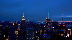 Blue Hour (Miradortigre) Tags: nyc newyorkcity panorama usa newyork skyline night noche bluehour