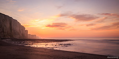 Ault - Somme - France (chassamax) Tags: ocean pink sunset sea panorama orange cliff sun mer seascape monochrome rose europe hiver calm paysage falaise couleur manche calme coucherdesoleil picardie ault somme maxence 1x2 paysagemarin canon6d formatpaysage maxenceboyerphoto maxenceboyer