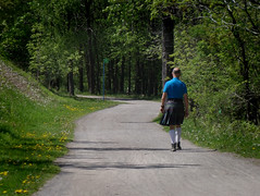 A man, a road, a kilt (Life & Things) Tags: road kilt scotish fashion outdoor walking
