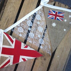 Hessian - Australian and British flags (www.emma-bunting.co.uk) Tags: wedding lace decoration emma garland photostream burlap bunting hessian