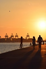 Sunset Stroll (mme1998) Tags: sunset orange docks evening nikon couple dslr southampton walkers southamptondocks mayflowerpark d3300