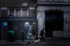 Two Dogs in Beak Street (stevedexteruk) Tags: beak street soho london uk 2016 hoarding art graffiti dog endless newspaper cuppa tea