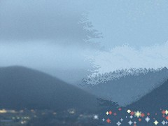 Crushed City Gloom (Autumn's Lull) Tags: city blue blur clouds dark lights haze gloomy bokeh low wave overcast down crushing pixel pixelart gloom noise crushed