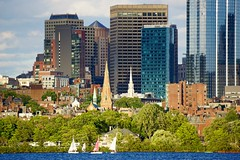Closeup on Boston ((Jessica)) Tags: blue summer sky cloud water boston skyline buildings river boats downtown skyscrapers charlesriver sunny sailboats beaconhill
