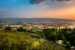 countryside, Umbria (R. Welch) Tags: travel blue light summer sky italy orange sun color green history landscape ancient colorful europe italia medieval historic summertime assisi ancienttown italianhilltoptown fujifilmx100s