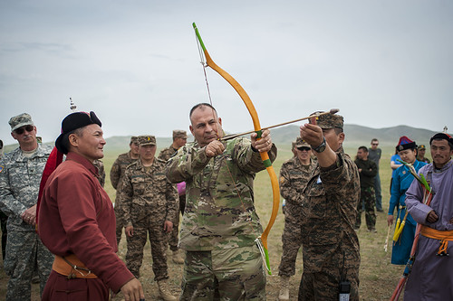 Deputy commander, Army National Guard, participates  in the archery skills event of the Naadam Festival during Khaan Quest 2016 in Mongolia