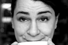Der erste Cappuchino (yshija) Tags: portrait woman white black coffee sw frau wakeup cappuchino happyness