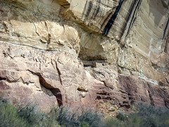 The Stucture in The Cliff (charles25001) Tags: above old cliff green utah side bank an structure rivers anasazi the