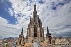 Barcelona Cathedral (Jan Kranendonk) Tags: barcelona city travel blue roof sky tower church architecture clouds buildings spain europe cityscape symbol cloudy religion culture spanish christianity far cloudscape