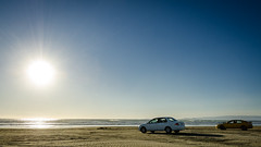 Driving to Oreti Beach for the sunset (Kathrin & Stefan) Tags: ocean sunset sky sun beach nature car sand outdoor vehicle tasmansea foveauxstrait oretibeach