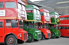The first four.... (stavioni) Tags: red bus green london museum coach transport double cobham routemaster brooklands decker rm rm1 aec rml rm2 rml3 rmc4 crl4