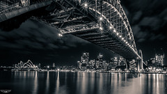 SYDNEY TRIO B+W (Laith Stevens Photography) Tags: ocean city bridge color colour skyline reflections wonderful lights long exposure harbour smooth sydney vivid olympus pro f28 omd em1 1240mm