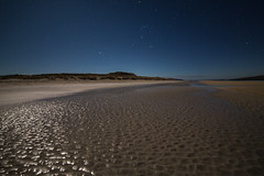 patterns of sand under Orion's belt (Sunshinenshadows) Tags: stars orionsbelt luskentyrebeach isleofharris outerhebrides scotland beach sand nighttime