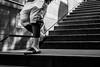 Sexy (TheKrippi) Tags: street leica city people blackandwhite bw man berlin monochrome socks stairs blackwhite tube streetphotography m tubestation shorts lowkey whitesocks runningaway adiletten leicam tennissocks
