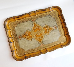 Vintage Florentine Gold-Gilt Painted Wooden Tray - Ornate Design (karalennox) Tags: wood italy vintage gold capri florence wooden carved italian painted tray 1960s etsy gilded gilt midcentury florentine hollywoodregency