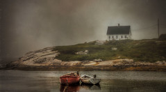 Amidst the Fog (Carolyn Little) Tags: ocean red sky white house mist seascape seaweed green texture water grass fog landscape boats rocks novascotia peggyscove