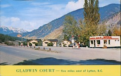 Gladwin Court, Lytton Court, BC (SwellMap) Tags: architecture vintage advertising design pc 60s fifties postcard suburbia style kitsch retro nostalgia chrome americana 50s roadside googie populuxe sixties babyboomer consumer coldwar midcentury spaceage atomicage