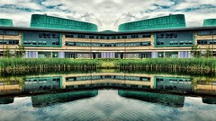 Uniformness (Mark.L.Sutherland) Tags: windows 2 two reflection building water architecture reeds scotland highlands north mirrored parallel effect inverness uhi invernesscollege uniformness