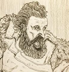 Wildling in battle (NatosuLongu) Tags: blackandwhite illustration ink drawing retrato stark dibujo gameofthrones wildling tormund