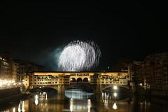 (danielebenvenuti) Tags: bridge italy reflection water canon river florence reflex fireworks fiume ponte tuscany firenze luci arno toscana acqua riflessi pontevecchio sangiovanni arnoriver fuochi artificio patrono lght italai pirotecnica canon700d