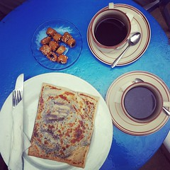 . (sasha helvete) Tags: blue food coffee square dessert lunch cafe tunisia sidibousaid squareformat crepe chocolatecrepe iphoneography instagramapp xproii uploaded:by=instagram tunisiansweets