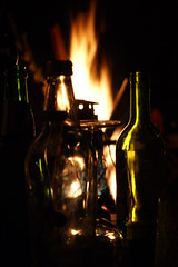 Through the glass (Stephie Wood) Tags: glass night dark fire bottles flames burn bonfire