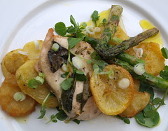 Breast of Chicken, Lemon, New Season Asparagus, Sage with Crispy Potatoes (Tony Worrall Foto) Tags: uk england food chicken fruit photo spring lemon image north cook tasty eaten eat asparagus taste cooked veg grenn foodie flavour tasr eeaten 2013tonyworrall
