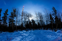 Full moon madness (Appe Plan) Tags: blue trees winter light sky moon snow cold night forest stars frozen woods nikon frost shadows sweden freezing full fisheye karlstad universe antenna pire appe