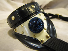 white goggles with glass button (Boilermonster) Tags: goggles etsy deathstar samovar steampunk