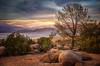 God Planned a Beautiful World for Us to Enjoy (Kris Kros) Tags: sunset sun mountain lake tree clouds photoshop rocks hills kris hdr kkg photomatix kros kriskros hdrunleashed