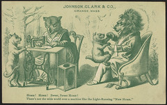 Home! Home! Sweet sweet home! There's not the wide world over a machine like the light-running 'New Home.' (front) (Boston Public Library) Tags: lions sewingmachines advertisingcards animalsinhumansituations