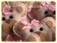 Ursinhas! (Mascotinhos em Feltro) Tags: keychain felt feltro menina aniversário urso nascimento maternidade chaveiro ursinho lembrancinha